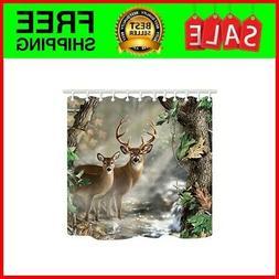 TANSTAN Deer Decor,Waterproof Fabric Elk Foggy Forest Shower
