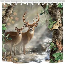 KOTOM TANSTAN Deer Decor,Waterproof Fabric Elk Foggy Forest