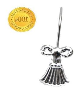 Tassel & Bow Shower Hooks - Polished Chrome, Shower Curtain