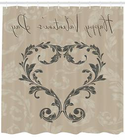Taupe Pattern Shower Curtain Fabric Decor Set with Hooks 4 S