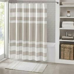 "Madison Park Taupe / White Spa Waffle Shower Curtain  72"" x"