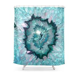 """Society6 Teal Agate Shower Curtain 71"""" by 74"""""""