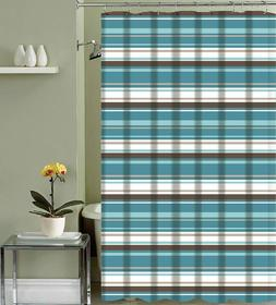Evonca Teal Aqua Brown Taupe White Fabric Shower Curtain: Ca