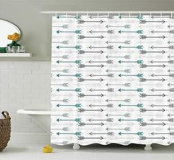 Teal Decor Shower Curtain by Ambesonne, Retro Arrow Pattern