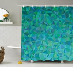 Teal Decor Shower Curtain Set By Ambesonne, Abstract Irregul