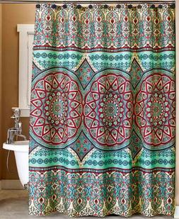 Teal Shower Curtain Medallion Fabric Bathroom Decorative Acc