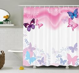Ambesonne Teen Girls Decor Collection, Flowers and Butterfli