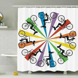 Ambesonne Teen on Bike Rainbow Shower Curtain Set