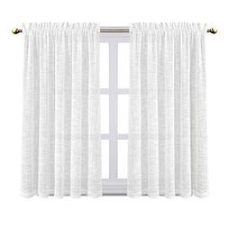 Zceconce Textured Linen Semi-Sheer Curtains for Bedroom Eleg