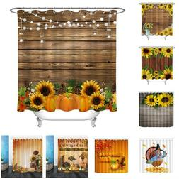 Thanksgiving Turkey Sunflowers Rustic Wooden Planks Fabric S