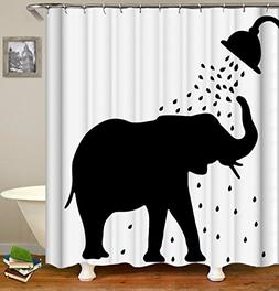 Thick Polyester Fabric Shower Curtain Set, Funny elephant Sh