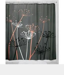 InterDesign Thistle Fabric Shower Curtain, 72 x 72 Inch, Gra