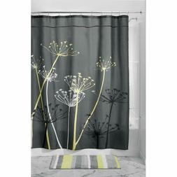 InterDesign Thistle Shower Curtain, Stall - Gray and Yellow