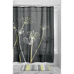 InterDesign Thistle Shower Curtain, 72 x 72-Inch, GrayYellow