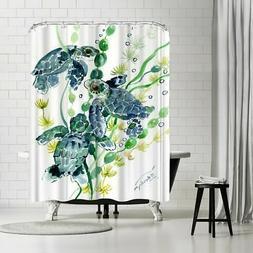 Americanflat 'Three Sea Turtles' Shower Curtain Blue