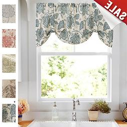 Tie Up Valances for Kitchen Windows Jacobean Floral Printed