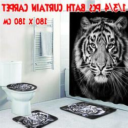 Tiger Black Printing Bathroom Shower Curtain Toilet Cover Ma