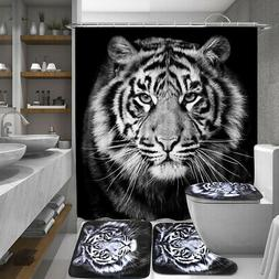 Tiger Black Printing Bathroom Shower Curtain Toilet Cover Ma