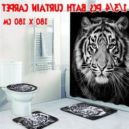 Tiger Printing Bathroom Shower Curtain Non-Slip Bath Mat Toi