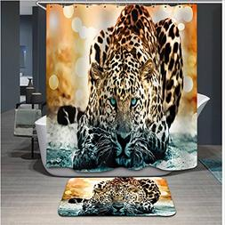 Moldiy Tiger Digital Printing Shower Curtain Anti Bacterial