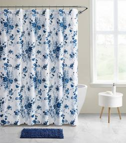 Tisbury 14-Piece Floral Bathroom Shower Curtain Set with Hoo