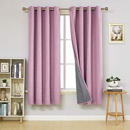 Deconovo Total Blackout Curtains with Coating Faux Linen The