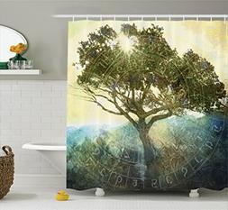 Ambesonne Tree of Life Decor Collection, Sun Shining through