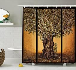 Ambesonne Tree Of Life Decor Shower Curtain Set, Triptych Of
