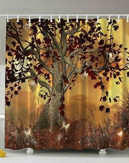 Tree Design Polyester Bathroom Shower Curtain