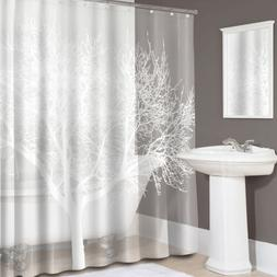 "Splash Home Lillies Floral Fabric Shower Curtain 70/"" x 72/"" White"
