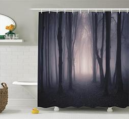 Ambesonne Tree Shower Curtain Farm House Decor, Path Through