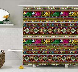 Ambesonne Tribal Shower Curtain, Ethnic Design with Colorful