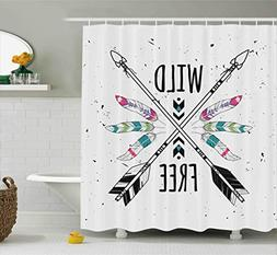 Ambesonne Tribal Shower Curtain, Crossed Ethnic Arrows with