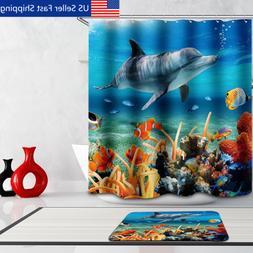 Tropical Beach Ocean Shower Curtain Dolphin Fish Design Bath