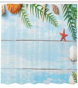 Tropical Beach Theme Rustic Style Seashells and Palms Pictur