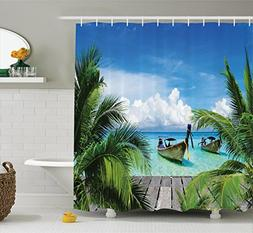 Ambesonne Tropical Decor Collection, Beach and Tropical Sea