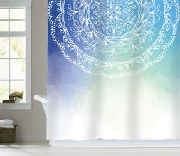 Sunlit Watercolor Mandala Pattern Fabric Shower Curtain Bath