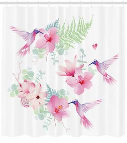 Tropical Flowers with Hummingbirds Natural Floral Decor Imag