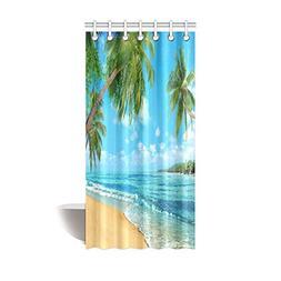 InterestPrint Tropical Island Decor, Oceanfront Waves Palm T