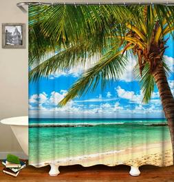 Tropical Ocean Beach Palm Tree Shower Curtain Polyester 12 R