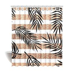 InterestPrint Tropical Palm Leaves on Rose Gold Stripes Deco