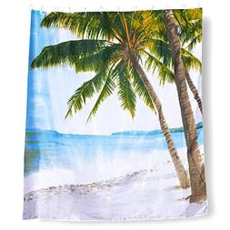 Juvale Tropical Scene Palm Beach Shower Curtain - Beach Them