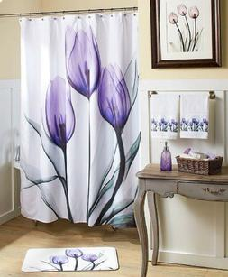 Tulip Shower Curtain Purple Bathroom Coordinates Tub Bath Ac