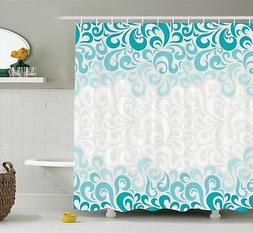 Ambesonne Turquoise Decor Shower Curtain Set, Abstract Flora