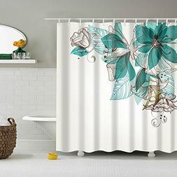 Turquoise Fabric Shower Curtain for Women Ladies Girls Water