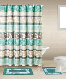 Turquoise Floral Multi 15 Pcs Modern Shower Curtain with Hoo