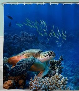 Turtle Shower Curtain, Sea Turle with Fishes and Coral Reef