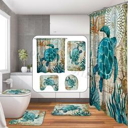 Turtles Octopus Style Shower Curtain Bathroom Toilet Non Sli