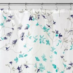 InterDesign® Twiggy Floral Fabric Shower Curtain in Teal an