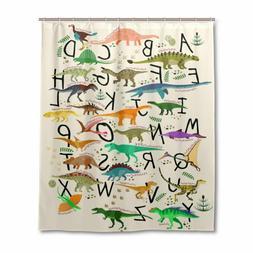 ALAZA U LIFE Dinosaurs Alphabet Decorative Shower Curtain Cu